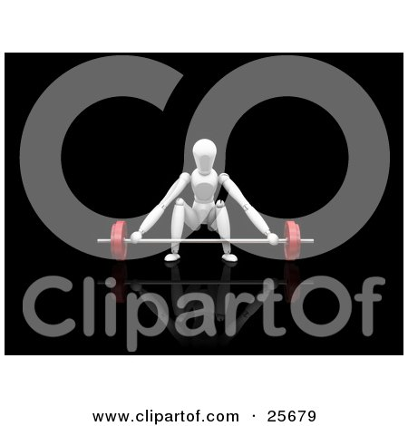 Clipart Illustration of a White Figure Character Crouching To Lift A Heavy Red Barbell In A Gym by KJ Pargeter