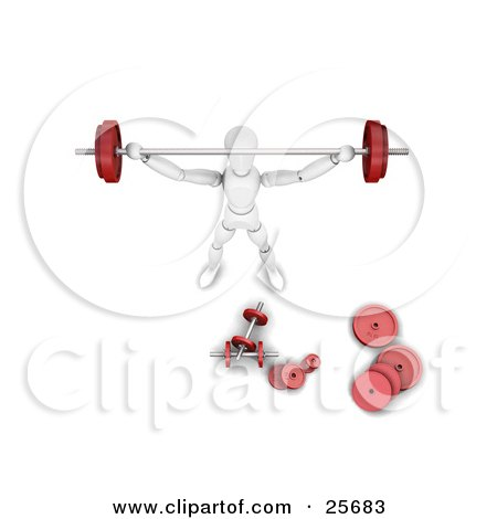 Clipart Illustration of a White Figure Character With A Barbell Above His Head And Dumbbells Scattered While Strength Training In A Gym by KJ Pargeter