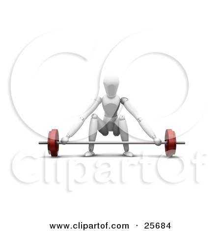Clipart Illustration of a Crouching White Figure Character About To Lift A Heavy Red Barbell In A Gym by KJ Pargeter