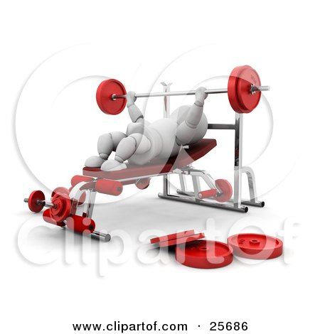 Clipart Illustration of a White Character Lifting A Barbell On A Bench Press In A Gym by KJ Pargeter