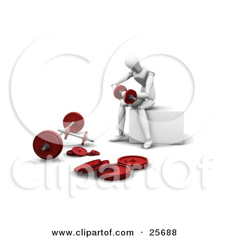 Clipart Illustration of a White Figure Character Working Out With Dumbbells In A Gym by KJ Pargeter