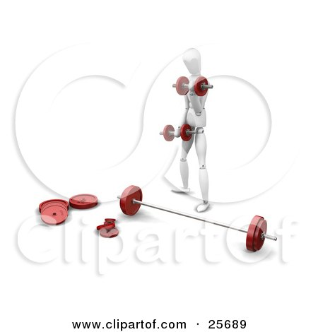 Clipart Illustration of a White Figure Character Standing In Front Of A Barbell, Doing Exercises With Dumbbells by KJ Pargeter