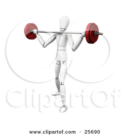 Clipart Illustration of a White Figure Character Struggling To Lift A Heavy Barbell Past His Shoulders by KJ Pargeter