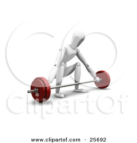 Clipart Illustration of a White Figure Character Ready To Lift A Barbell, Crouching by KJ Pargeter