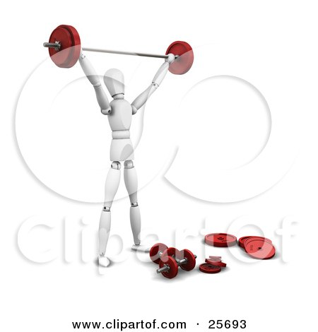 Clipart Illustration of a White Figure Character Weight Lifting In A Gym With A Barbell And Dumbbells by KJ Pargeter