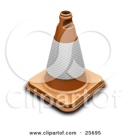 Clipart Illustration of an Orange Traffic Cone With A Reflective Band by KJ Pargeter