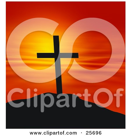 Clipart Illustration of a Cross On Top Of A Hill, Silhouetted Against A Red And Orange Sunset by KJ Pargeter