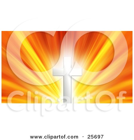 Clipart Illustration of a Glowing Silver Cross Against A Bursting Yellow, Orange And Red Sky by KJ Pargeter