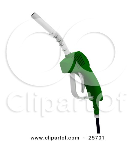 Clipart Illustration of a Green Gasoline Pumping Nozzle by KJ Pargeter