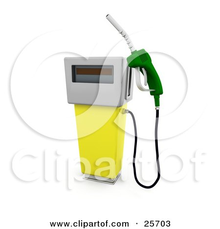 Clipart Illustration of a Yellow Gasoline Pump With A Green Nozzle At A Gas Station by KJ Pargeter