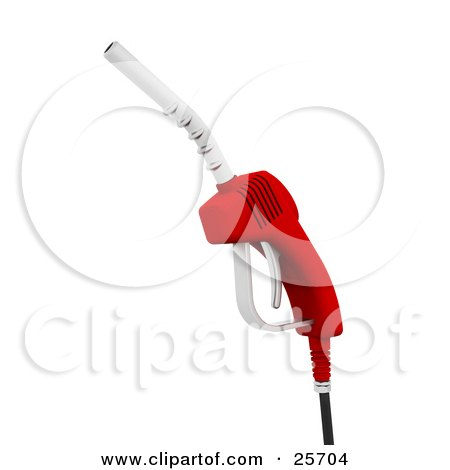 Clipart Illustration of a Red Gasoline Pumping Nozzle by KJ Pargeter