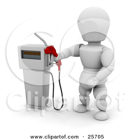Clipart Illustration of a White Character Holding A Red Gas Tank Pump Nozzle, Preparing To Fuel A Vehicle by KJ Pargeter