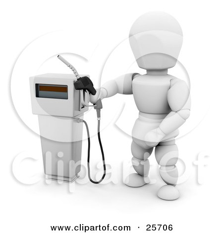 Clipart Illustration of a White Character Holding A Black Gas Tank Pump Nozzle, Preparing To Fuel A Vehicle by KJ Pargeter