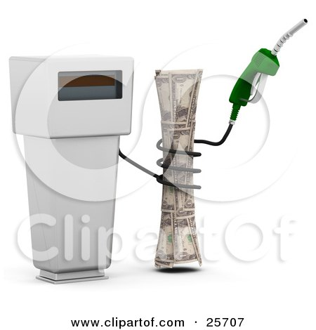 Clipart Illustration of a Gasoline Pump With A Green Nozzle And Black Cable, Squeezing Cash, Symbolizing Gas Prices by KJ Pargeter