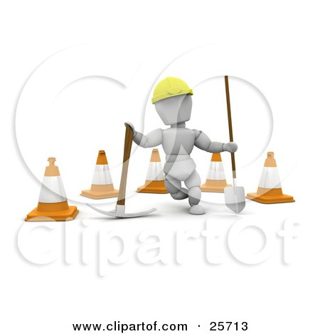 Clipart Illustration of a White Character Construction Worker Wearing A Hard Hat And Standing With A Pickaxe And Shovel In Front Of Construction Cones by KJ Pargeter