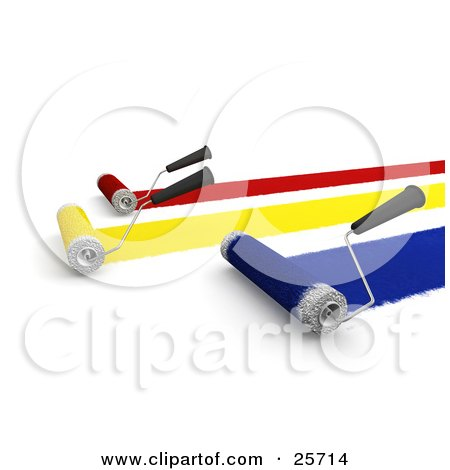 Clipart Illustration of Roller Brushes Painting Red, Yellow And Blue Paint To A Wall by KJ Pargeter