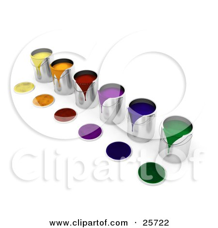 Clipart Illustration of a Diagonal Row Of Colorful Cans Of Paint, Paint Spilling Over The Rims And Lids Resting In Front by KJ Pargeter