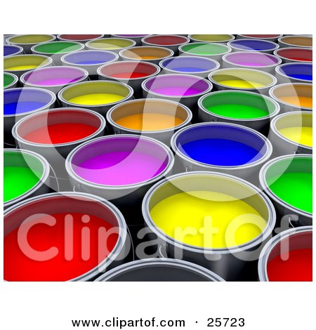 Clipart Illustration of a Background Of Green, Red, Pink, Yellow, Orange And Blue Cans Of Paint by KJ Pargeter