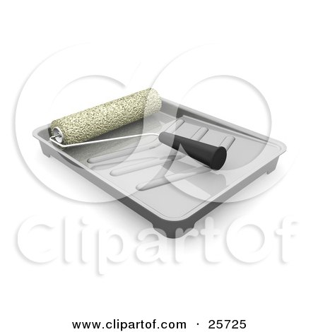 Clipart Illustration of a Roller Brush Resting In A Plastic Paint Tray by KJ Pargeter