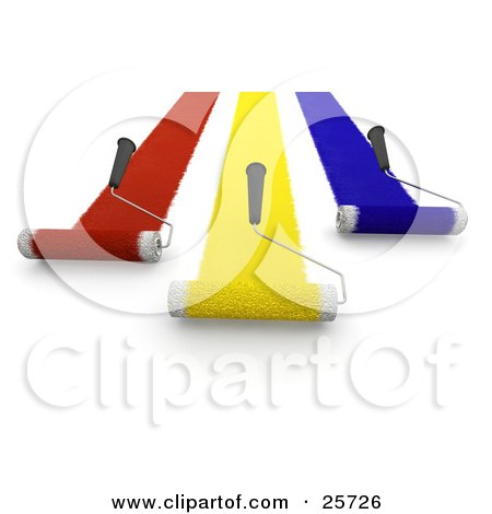 Clipart Illustration of Three Handled Roller Brushes Applying Red, Yellow And Blue Paint To A Wall And Moving Forward by KJ Pargeter