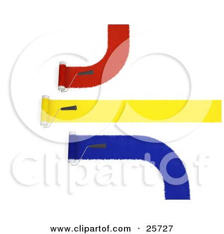Clipart Illustration of Three Handled Roller Brushes Applying Red, Yellow And Blue Paint To A Wall by KJ Pargeter
