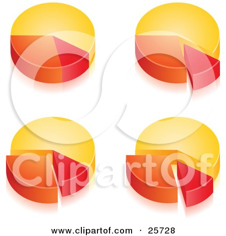 Clipart Illustration of a Group Of Four Yellow, Orange And Red Pie Chart Graphs Showing Different Percentages by beboy