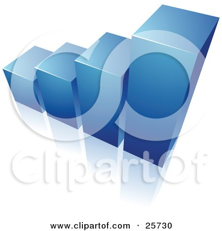 Clipart Illustration of a Blue Bar Graph Rising From A Reflective White Surface by beboy