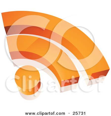 Clipart Illustration of an Orange Wifi Internet Symbol With A Dot And Two Arches by beboy