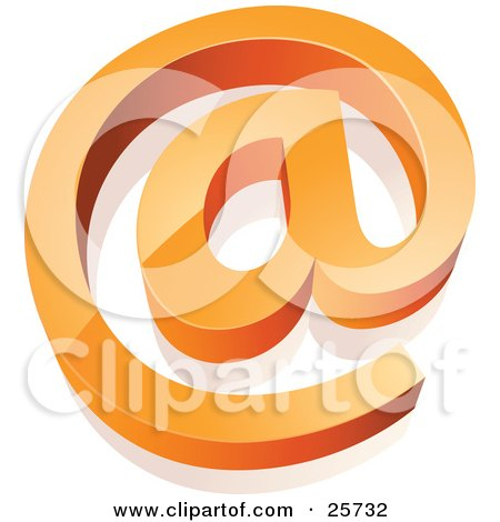 Orange At Email Symbol Rising From A White Surface Posters, Art Prints