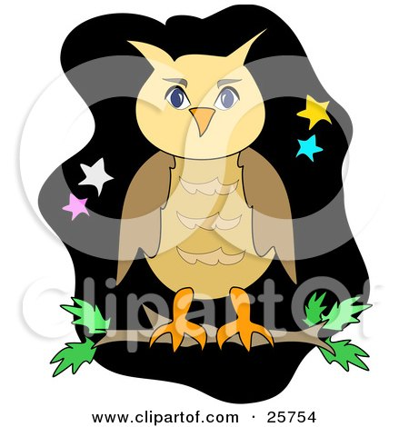 Clipart Illustration Of A Brown Owl Perching On A Tree Branch Against A Black Night Sky With Yellow Blue White And Pink Stars