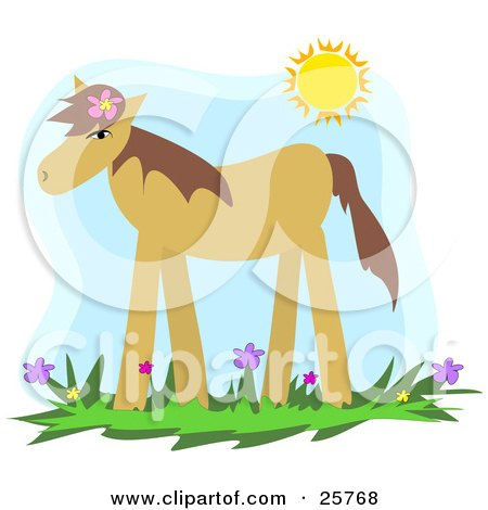 Clipart Illustration of a Cute Brown Pony Wearing A Flower In Its Mane, Standing In A Spring Flower Field Under The Sunshine by bpearth