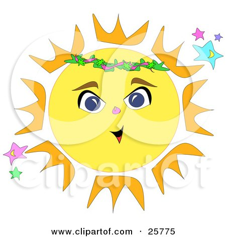 Clipart Illustration of a Bright Yellow And Orange Sun With A Face by bpearth