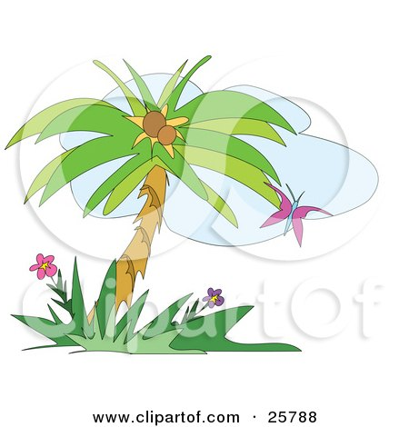 Purple Butterfly Fluttering Near A Coconut Palm Tree And Flowers Posters, Art Prints