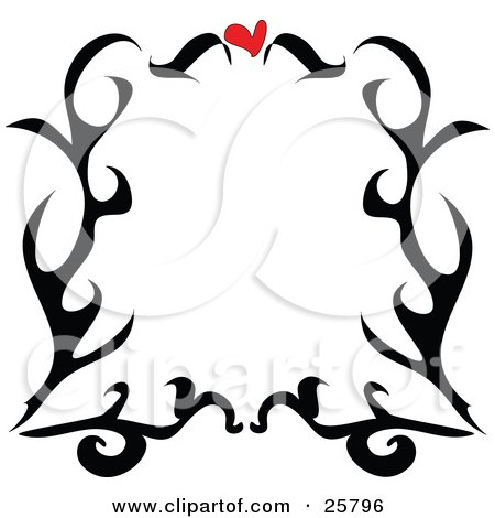 Royalty-free clipart picture of a border of black tattoo scrolls and a red