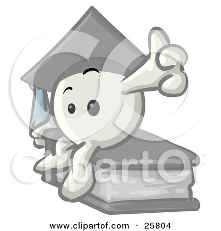 Clipart Illustration of a White Konkee Character Graduate In A Cap, Sitting On A Book by Leo Blanchette