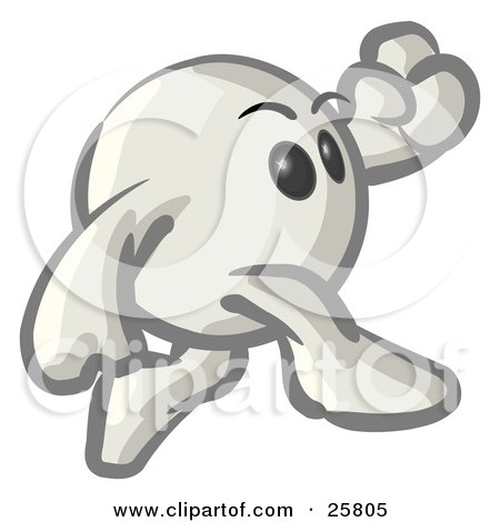 Clipart Illustration of a White Konkeey Character Running by Leo Blanchette