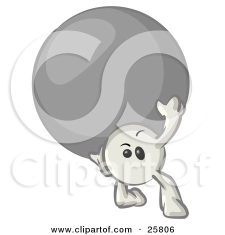 Clipart Illustration of a White Konkee Character Carrying A Large Ball by Leo Blanchette