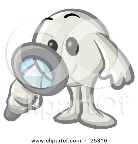 Clipart Illustration of a White Konkee Character Inspecting With A Magnifying Glass by Leo Blanchette