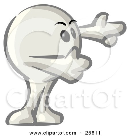 Clipart Illustration of a White Konkee Character Holing His Arms Out And Pointing by Leo Blanchette