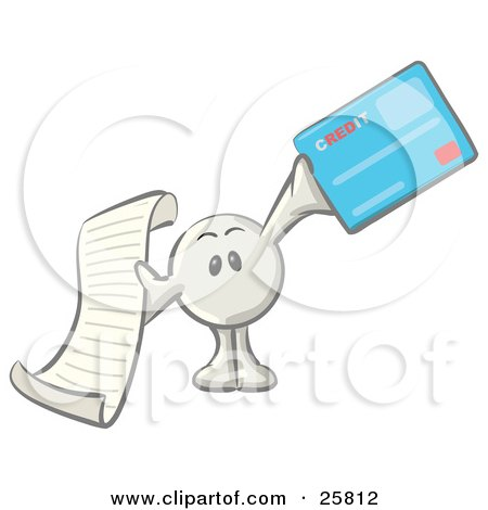 Clipart Illustration of a White Konkee Character Holding A Receipt And A Blue Credit Card by Leo Blanchette