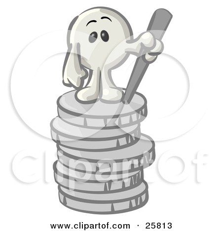 Clipart Illustration of a White Konkee Character Standing On Top Of A Stack Of Coins by Leo Blanchette