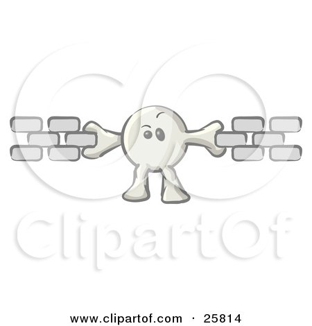 Clipart Illustration of a White Konkee Character Holding Links Of A Chain Together, Symbolizing Seo And Linking by Leo Blanchette