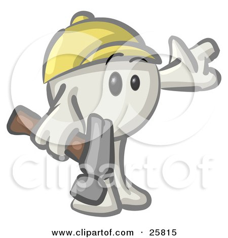 Clipart Illustration of a White Konkee Character Construction Worker In A Hardhat, Holding A Hammer by Leo Blanchette