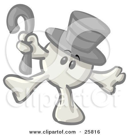 Clipart Illustration of a White Konkee Character In A Top Hat, Dancing With A Cane by Leo Blanchette
