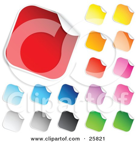 Clipart Illustration of a Collection Of Red, Blue, Gray, Black, Yellow, Orange, Pink, Purple And Green Blank Peeling Sticker Labels by beboy