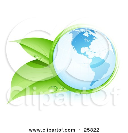 Clipart Illustration of Green Leaves With Dew Drops Embracing The Blue Planet Earth by beboy
