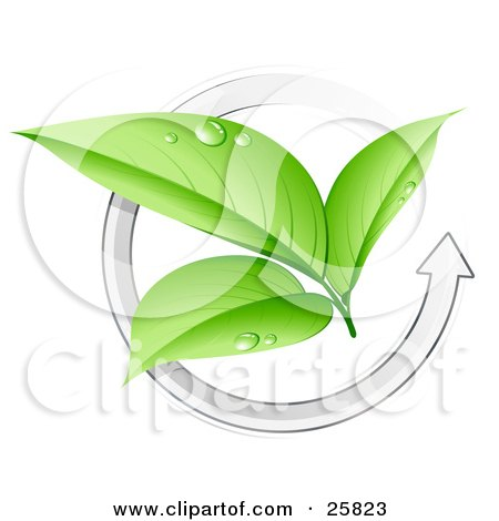 Clipart Illustration of Three Green Plant Leaves Wet With Dew, In The Center Of A White Arrow by beboy