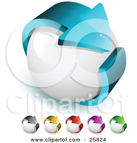 Clipart Illustration of a Blue Arrow Circling A White Orb, Symbolizing Recycling And Ecology, And Includes Other Gray, Yellow, Red, Purple And Green Color Versions by beboy