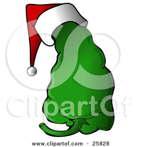 Clipart Illustration of a Spicy Green Christmas Pepper Wearing A Santa Hat by djart
