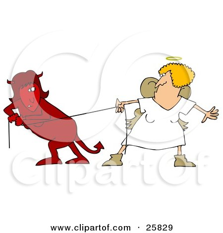 Clipart Illustration Of A Red Evil Devil Woman In A Fight Of Tug Of War With A Good Angel Woman